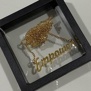 Empower Logo Gold Plated Chain Necklace